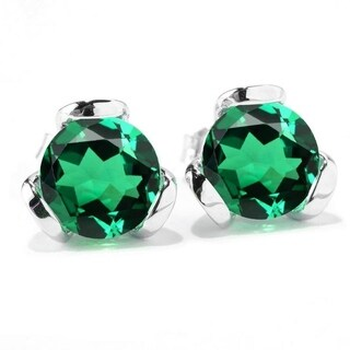 Sterling Silver with Emerald Stud Earring