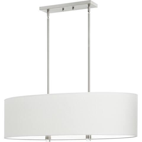 Quorum International Copeland Family 4 Light White Glass Shade Island Light.
