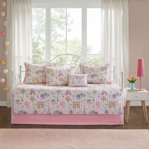 Mi Zone Kids Penelope the Poodle Pink 6 Piece Reversible Daybed Set