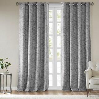 SunSmart Linden Woven Stripe Total Blackout Single Window Curtain