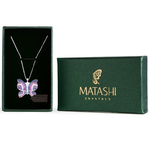 Rhodium Plated Butterfly Necklace with Pink, Blue and Clear CZ Stones by Matashi