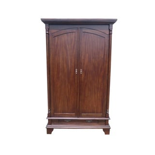 Offex Handcrafted Natural Mahogany Wood Voc Armoire with Adjustable Shelves