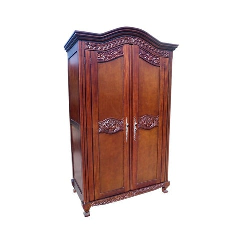 Offex Kiln Dried Mahogany Wood Old English Armoire with Adjustable Shelves