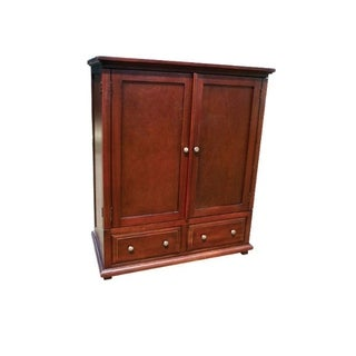 Offex Solid Mahogany Wood Java TV Armoire with 2 Drawers
