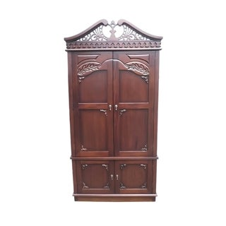 Offex Kiln Dried Natural Mahogany Wood Carved Top Armoire