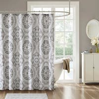 Madison Park Torin Grey Cotton Printed Shower Curtain