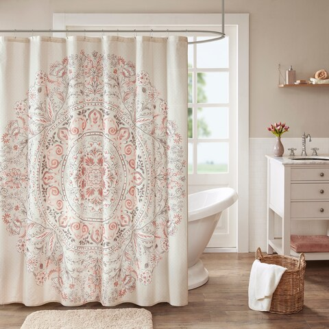 Madison Park Evelyn Cotton Printed Shower Curtain