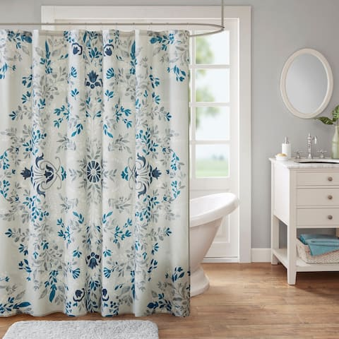 Madison Park Melora Cotton Printed Shower Curtain