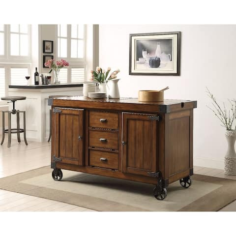 Wooden Kitchen Cart, Antique Tobacco Brown