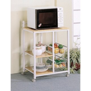 Kitchen Cart with 3 Shelves & 2 Storage Compartments, Brown And White
