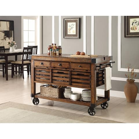 Wood & Metal Kitchen Cart, Distress Chestnut Brown