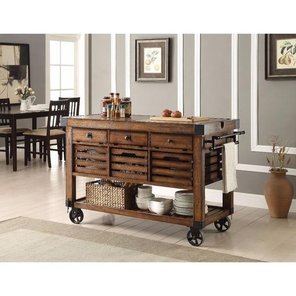 Shop Wood & Metal Kitchen Cart, Distress Chestnut Brown