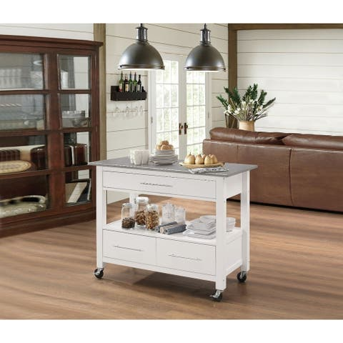 Kitchen Cart with Stainless Steel Top, Gray & White