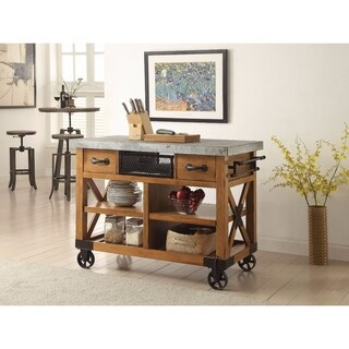 Wood and Metal Kitchen Cart, Antique Oak Brown