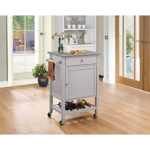 Kitchen Cart With Stainless Steel Top, Gray