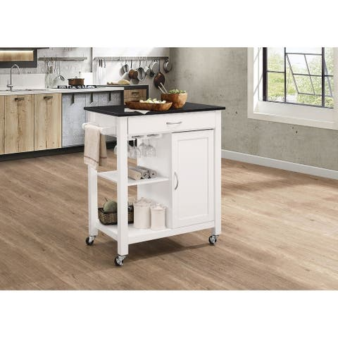 Kitchen Cart With Wooden Top, Black & White