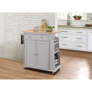 Kitchen Cart With Wooden Top, Natural & Gray