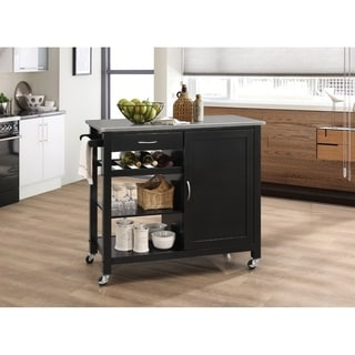 Kitchen Cart With Wooden Top, Black