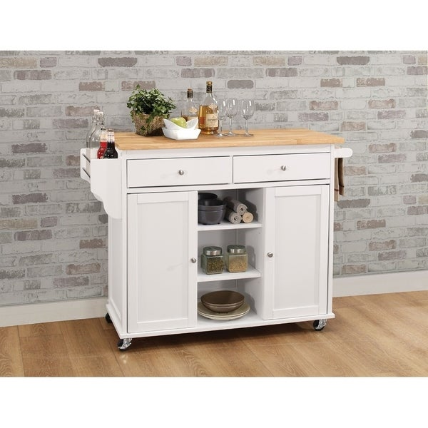 Kitchen Cart With Wooden Top, Natural & White