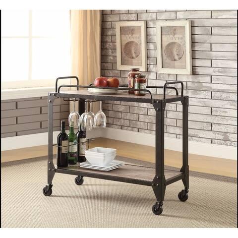 Metal and Wood Serving Cart, Rustic Oak & Black