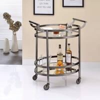 Oval Metal Serving Cart, Clear Glass & Black Nickel