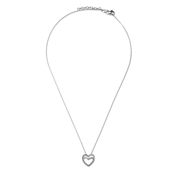 Matashi White Gold Plated Double Heart Pendant Necklace Sparkling Clear Crystals