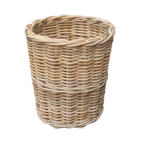 Offex Handmade Round Wicker Woven Trash Bin