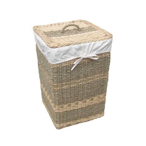 Offex Handmade Costa Seagrass and Wicker Woven Square Laundry Hamper
