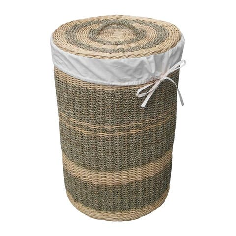 Offex Handmade Costa Seagrass and Wicker Woven Round Laundry Hamper