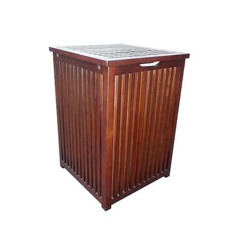 Offex Handmade Mahogany Colonial Hamper Laundry Box