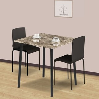 Sleeplanner Square Dining Table with Faux Marble Top, Crema Cappuccino 30TB06D