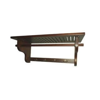 Offex Handcrafted Solid Mahogany Wood Wall Hanger Shelf