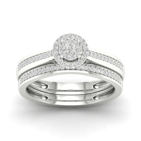 De Couer S925 Sterling Silver 1/5ct TDW Diamond Bridal Ring