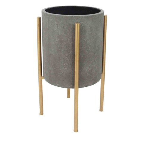 Tranisitional Planter On Golden Stand- Gray & Gold, Large