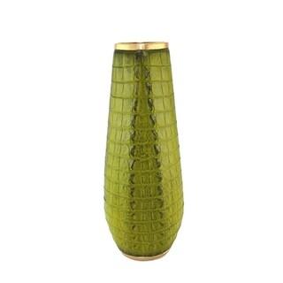 Beautiful Polyresin Alligator Skin Vase, Light Green