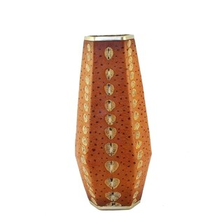 Polyresin Sturgeon Decorative Vase, Orange And Gold