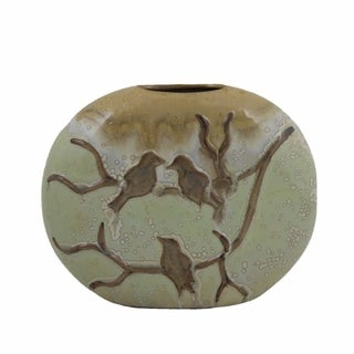 Appealing Ceramic Vase, Green And Brown
