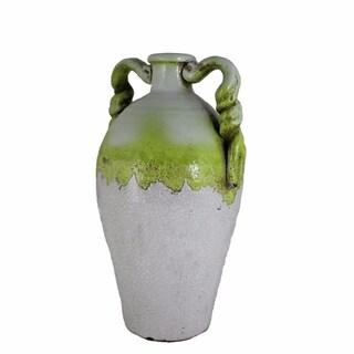 Ceramic Vase, White And Green