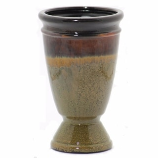 Ceramic Vase In Traditional Style, Brown And Olive Green