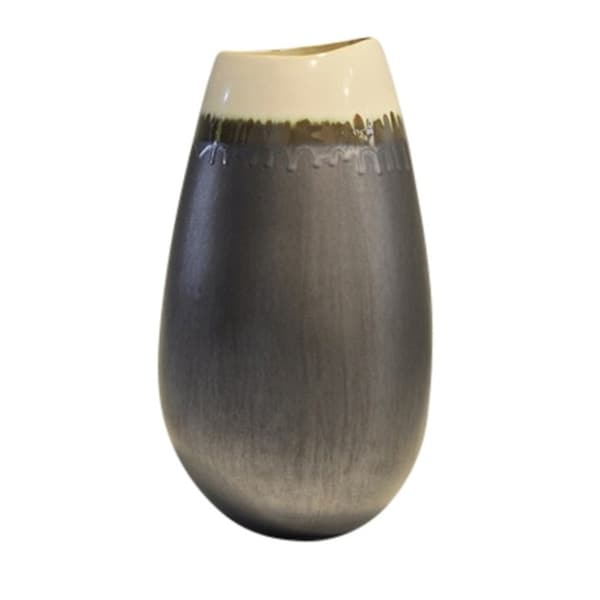 Shop Dripping Designed Ceramic Vase Gray And Cream Free Shipping