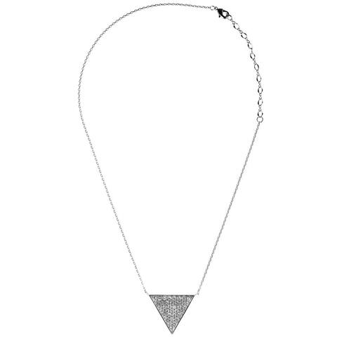 White Gold Plated Triangle Delta Pendant Necklace with Sparkling Clear Crystals by Matashi