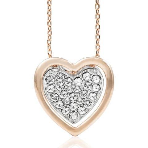 Rose & White Gold Plated Heart Pendant Necklace With Sparkling Clear Crystals by Matashi