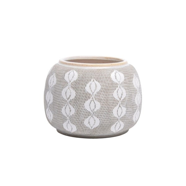 Shop Round Textured Beautiful Ceramic Planter, Gray And White - Free on home kitchen design, home health center design, home technology design, home library design, home foundation design, home laboratory design, home restaurant design, home business office layout, home den office design, home office furniture, home art design, hallway design, home business insurance, home business office lighting, home business software, craft room design, clean home office design, small home office design, bath design, small business office design,