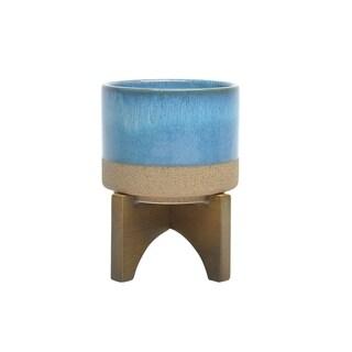 Contemporary Ceramic planter with stand, Multicolor
