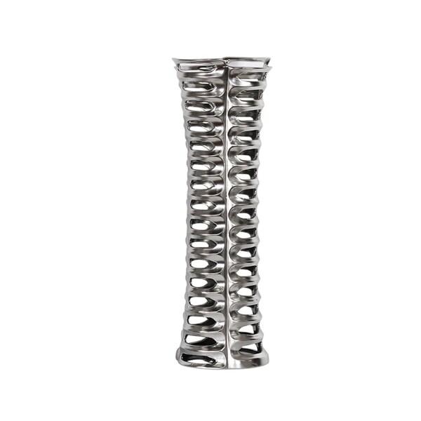 Stylish Decorative Ceramic Vase With Cutouts, Silver