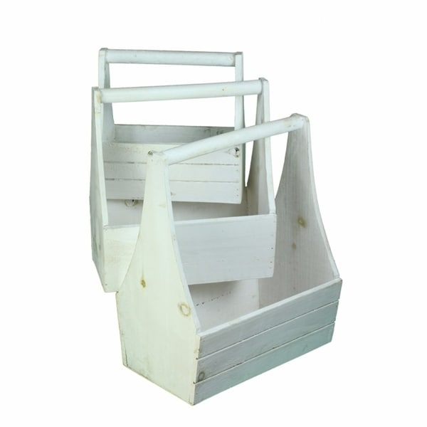 Well Made Wooden Planter With Handle Set Of 3 White On Free Shipping Orders Over 45 21607886