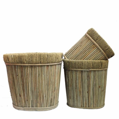 Well-Designed Oval Willow Planter, Beige ,Set of 3