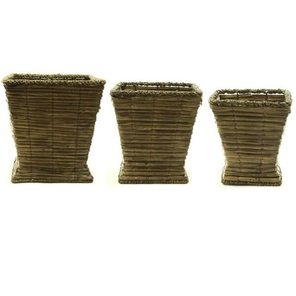 Sea Grass Vase, Light Brown, Set Of 3
