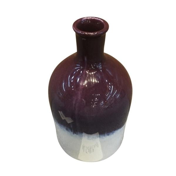 Stylish Decorative Ceramic Vase, Purple & White