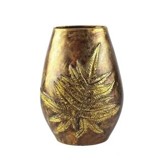 Dazzling Polyresin Leaf Vase, Gold